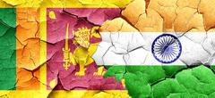 Sri lanka flag with India flag on a grunge cracked wall Stock Illustration