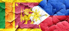 Sri lanka flag with Philippines flag on a grunge cracked wall Stock Illustration
