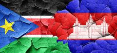 South sudan flag with Cambodia flag on a grunge cracked wall Stock Illustration