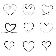 Vector black hearts icons set Stock Illustration
