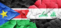 South sudan flag with Iraq flag on a grunge cracked wall Stock Illustration