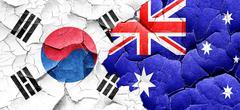 South korea flag with Australia flag on a grunge cracked wall Stock Illustration