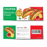 Mexican food coupon discount template flat design Stock Illustration