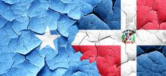 Somalia flag with Dominican Republic flag on a grunge cracked wa - stock illustration
