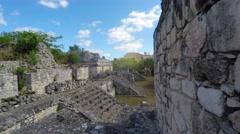 A gimbal shot of Mayan ruins at Ek Balam near Cancun Stock Footage
