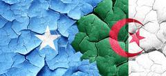 Somalia flag with Algeria flag on a grunge cracked wall Stock Illustration
