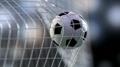 Soccer ball in the net. 3d rendering Stock Illustration