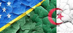 Solomon islands flag with Algeria flag on a grunge cracked wall Stock Illustration