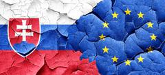 Slovakia flag with european union flag on a grunge cracked wall Stock Illustration