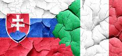 Slovakia flag with Italy flag on a grunge cracked wall - stock illustration
