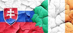 Slovakia flag with Ireland flag on a grunge cracked wall - stock illustration