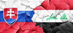 Slovakia flag with Iraq flag on a grunge cracked wall Stock Illustration
