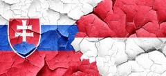 Slovakia flag with Indonesia flag on a grunge cracked wall - stock illustration