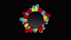Colorful flower and black circle video animation Stock Footage