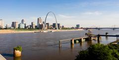 St Louis Missouri Downtown City Skline Arch Gateway West - stock photo