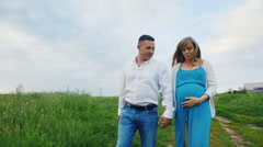 Steadicam shot: Young happy family on walk. Man walking with his pregnant wife Arkistovideo