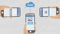 Share pictures in mobile, using cloud service. Stock Footage