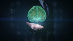 Businessman open palms, rotating brain x-ray image. Stock Footage