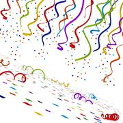Multi colored confettis isolated on white background. 3D illustration Stock Illustration