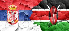 Serbia flag with Kenya flag on a grunge cracked wall Stock Illustration