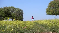 free child running in nature - stock footage