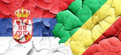 Serbia flag with congo flag on a grunge cracked wall Stock Illustration