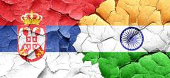 Serbia flag with India flag on a grunge cracked wall Stock Illustration