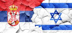 Serbia flag with Israel flag on a grunge cracked wall - stock illustration
