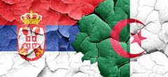 Serbia flag with Algeria flag on a grunge cracked wall Stock Illustration