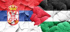 Serbia flag with Palestine flag on a grunge cracked wall Stock Illustration