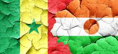 Senegal flag with Niger flag on a grunge cracked wall Stock Illustration