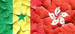 Senegal flag with Hong Kong flag on a grunge cracked wall - stock illustration