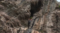 Climber on the Rocks Ropes 4K Stock Footage