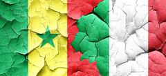 Senegal flag with Italy flag on a grunge cracked wall Stock Illustration