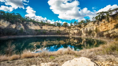 Wide angle of round lakes in palancares, Cuenca. Sliding camera - stock footage