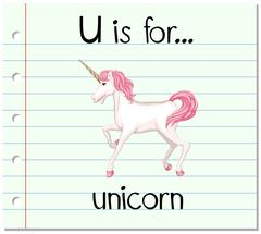 Flashcard letter U is for unicorn Stock Illustration