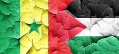 Senegal flag with Palestine flag on a grunge cracked wall - stock illustration