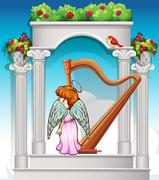 Angel with harp in heaven Stock Illustration