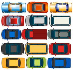 Top view of cars and trucks Piirros