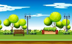 Park scene with trees and benches Piirros
