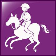 Sport icon for equestrain on purple background Stock Illustration