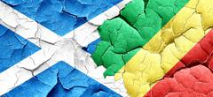 Scotland flag with congo flag on a grunge cracked wall Stock Illustration