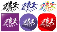 Triathlon icon in three designs Stock Illustration
