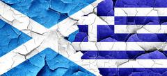 scotland flag with Greece flag on a grunge cracked wall - stock illustration