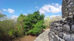 Gimbal shot of Mayan ruins at Ek Balam near Cancun Stock Footage