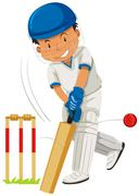 Cricket player hitting ball with bat Stock Illustration