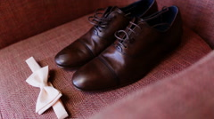 Men's shoes and tie Stock Footage