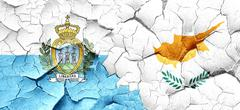 san marino flag with Cyprus flag on a grunge cracked wall - stock illustration
