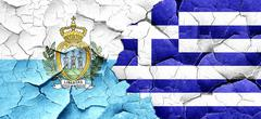 San marino flag with Greece flag on a grunge cracked wall Piirros