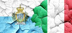 San marino flag with Italy flag on a grunge cracked wall Stock Illustration